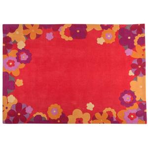 μοντέρνο χαλί,μηχανής,κόκκινο,λουλούδια